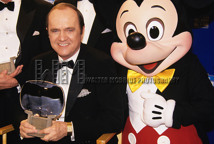 Bob Newhart and Mickey Mouse pictured at the Hall of Fame inductions at Disney MGM Studios park in Orlando, Florida on November 21, 1993.