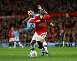Brandon Williams of Manchester United cuts off Bernardo Silva of Manchester City during the Carabao Cup match at Old Trafford, Manchester. Picture date: 7th January 2020. Picture credit should read: Darren Staples/Sportimage