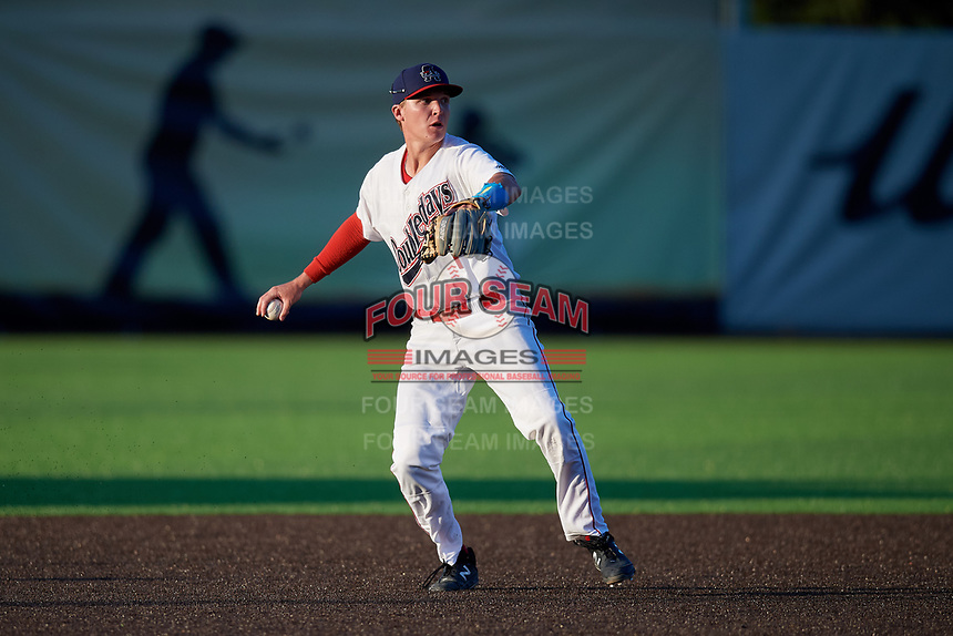 Auburn Doubledays third baseman Jack Dunn (1) throws to first base during a NY-Penn League game against the West Virginia Black Bears on August 23, 2019 at Falcon Park in Auburn, New York.  West Virginia defeated Auburn 8-1, the first game of a doubleheader.  (Mike Janes/Four Seam Images)