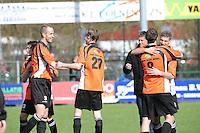 VOETBAL: URK: Sportpark 'de Vormt', SV Urk - Drachtster Boys, 14-04-2012, Zaterdag Hoofdklasse C, Spelers Drachters Boys Jacob Bras (#13), Pieter Jelle de Jong (#3), Johan Hoekstra (#20), Paul de Jong (#8) en Frank Eijgelaar (#5) feliciteren elkaar met 2e winst van dit seizoen, Eindstand 2-3, ©foto Martin de Jong
