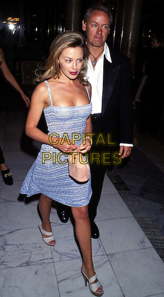 KYLIE MINOGUE  ..Ref:026..light blue summer dress, cleavage, red lipstick, full length, full-length..www.capitalpictures.com..sales@capitalpictures.com..©Capital Pictures