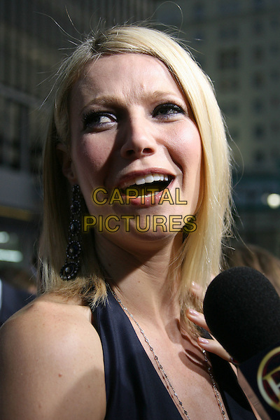 "GWYNETH PALTROW.""Iron Man"" Los Angeles Premiere held at the Grauman's Chinese Theatre, Hollywood, California, USA,.30 April 2008..portrait headshot microphone being interviewed .CAP/ADM/RE.©Russ Elliot/Admedia/Capital PIctures"