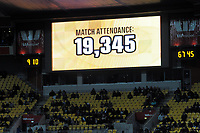 The match attendance of 19,345 is flashed on the big screen during the Super Rugby match between the Hurricanes and Chiefs at Westpac Stadium in Wellington, New Zealand on Friday, 13 April 2018. Photo: Dave Lintott / lintottphoto.co.nz