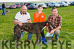 l-r James Duggan, Ballyduff, Eugene Costello and Eoin Costello, Abbeydorney with  greyhound called Darren Master. at the Ballyheigue Coursing on Sunday
