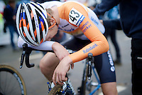 post-race fatigue by Joris Nieuwenhuis (NLD/Rabobank Development Team/U23)<br /> <br /> GP Mario De Clercq 2014<br /> Hotond Cross<br /> CX BPost Bank Trofee - Ronse