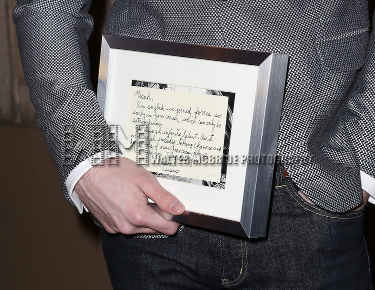 Micah Stock, with his note from Terrence McNally,  and the cast from 'It's Only A Play' head to their new home at the Bernard B. Jacobs Theatre on January 23, 2014 in New York City.