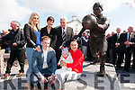 The family of the late Paidí Ó Sé, Maire, Siún, Padraig Óg, Neasa and baby Fiadh with Mick O'Dwyer at the unveiling of Paidí's statue at Ard an Bothair, Ventry, on Saturday afternoon.