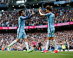 David Silva of Manchester City (l) celebrates scoring with provider Leroy Sane of Manchester City (r) during the English Premier League match at the Etihad Stadium, Manchester. Picture date: May 13th 2017. Pic credit should read: Simon Bellis/Sportimage