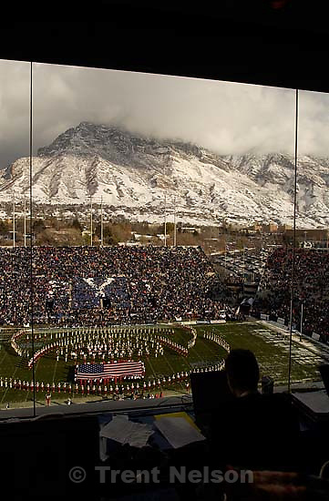 view from the press box. Provo - Utah beats BYU 3-0. BYU vs. Utah football Saturday at LaVell Edwards Stadium.<br />