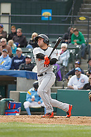 Frederick Keys catcher Austin Wynns (18) at bat during a game against the Myrtle Beach Pelicans at Ticketreturn.com Field at Pelicans Ballpark on April 10, 2016 in Myrtle Beach, South Carolina. Myrtle Beach defeated Frederick 7-5. (Robert Gurganus/Four Seam Images)