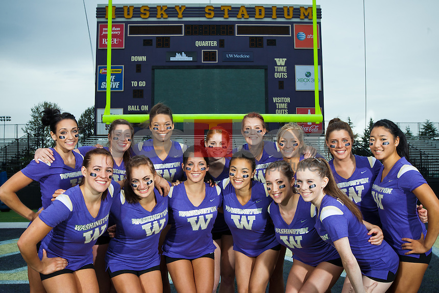 Hatsune Akaogi, Paige Bixler, Amanda Cline, Ruby Engreitz, Anna Epps, McKenzie Fechter, Doris Lynk, Jackie McCartin, Madison Podlucky, Lauren Rogers, Kylie Sharp, Phoebe Tham, Aliza Vaccher and Megan Whitney.  ---------2011-2012 University of Washington Gymnastics team photographed on Thursday, September 22, 2011. (Photo by Dan DeLong/Red Box Pictures)