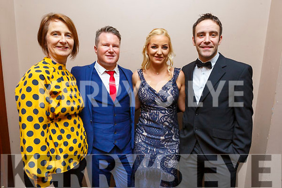 Nora Curran, Joe Burkett, Noelle O'Brien and Andrew Morissey (MC) at the Ballymac Strictly Love dancing in the Ballygarry House Hotel on Saturday.