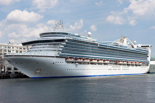Princess Cruises cruise ship Caribbean Princess docked at the Black Falcon Cruise Port (also known as Cruiseport Boston) in Boston, Massachusetts