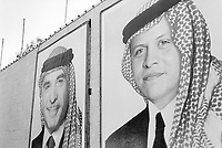 "Jordan. Petra. Portraits of King Abdullah II and his father King Hussein. His Majesty King Abdullah II bin Al Hussein, is the actual King of The Hashemite Kingdom of Jordan.His Majesty King Abdullah II bin Al Hussein is the 43rd generation direct descendant of the Prophet Muhammad. He assumed his constitutional powers as Monarch of the Hashemite Kingdom of Jordan on February 7th, 1999, the day of the death of his father, the late Royal Highness King Hussein bin Talal (1935-1999), known to his  people as Al-Malik Al-Insan (""The Humane King"").  © 2002 Didier Ruef"
