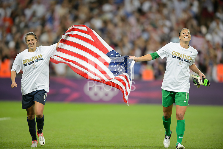London, England - Thursday, August 9, 2012: The USA defeated Japan 2-1 to win the London 2012 Olympic gold medal at Wembley Arena. Carli Lloyd and Hope Solo celebrate. .