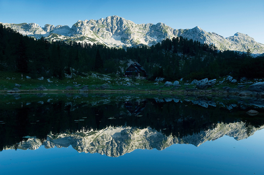 Second Double Lake (Dvojno jezero) with mountain hut (Koca pri Triglavskih jezerih)<br /> Triglav National Park, Slovenia<br /> August 2009