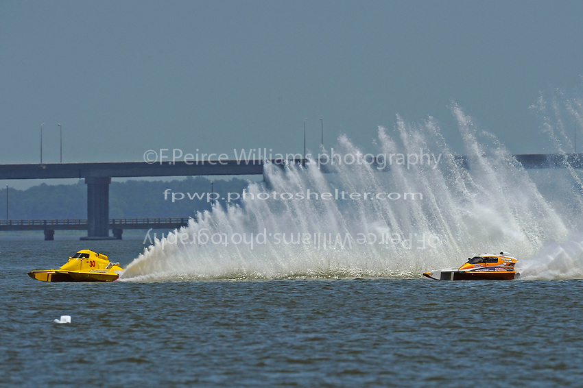 "Thom Heins, NM-30 ""Pennzoil Big Bird"" and Elizabeth Wolfe, NM-93 ""Desperado"" (National Mod hydroplane(s)"