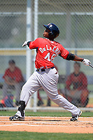 Boston Red Sox outfielder Keury Da La Cruz #46 during a minor league Spring Training game against the Baltimore Orioles at Buck O'Neil Complex on March 25, 2013 in Sarasota, Florida.  (Mike Janes/Four Seam Images)