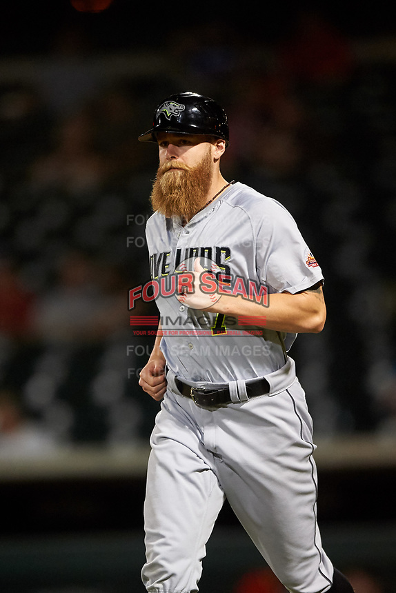 Peoria Javelinas coach Carson Vitale (7), of the Seattle Mariners organization, jogs toward third base during an Arizona Fall League game against the Mesa Solar Sox on September 21, 2019 at Sloan Park in Mesa, Arizona. Mesa defeated Peoria 4-1. (Zachary Lucy/Four Seam Images)