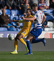 Reading's Matt Miazga (left) battles with Preston North End's Daniel Johnson (left) <br /> <br /> Photographer David Horton/CameraSport<br /> <br /> The EFL Sky Bet Championship - Reading v Preston North End - Saturday 19th October 2019 - Madejski Stadium - Reading<br /> <br /> World Copyright © 2019 CameraSport. All rights reserved. 43 Linden Ave. Countesthorpe. Leicester. England. LE8 5PG - Tel: +44 (0) 116 277 4147 - admin@camerasport.com - www.camerasport.com