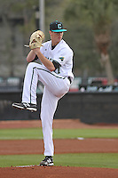 Coastal Carolina University pitcher Tyler Herb #27 pitching during a game against the James Madison University Dukes at Watson Stadium at Vrooman Field on February 17, 2012 in Conway, SC.  Coastal Carolina defeated James Madison 7-1.  (Robert Gurganus/Four Seam Images)