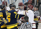 Chris LeBlanc (Merrimack - 16), Zach Sanford (BC - 24), Ian McCoshen (BC - 3), Adam Gilmour (BC - 14), Bob Bernard - The Boston College Eagles defeated the visiting Merrimack College Warriors 2-1 on Wednesday, January 21, 2015, at Kelley Rink in Conte Forum in Chestnut Hill, Massachusetts.