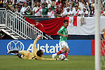 June 08 2008:  Carlos Vela (Osasuna) (11) of Mexico moves the ball around George Forsyth (Atalanta / ITA) (12) of Peru, then scores a goal in an empty net.  During the third and final match of Mexico's 2008 USA Tour in preparation for qualification for FIFA's 2010 World Cup, the national soccer team of Mexico defeated Peru 4-0 at Soldier Field, in Chicago, IL.
