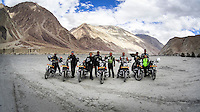 Panos Photographers Suzanne Lee and Sanjit Das (3rd and 4th from left) and their friends rode through some of the World's Highest Motorable roads as they went Across the Himalayas in the Valley of Ladakh, India, on Royal Enfield motorcycles in June 2014. A resulting 4 minute short film was made, all shot on an arsenal of Sony ActionCam video cameras. Photo by Suzanne Lee/Panos Pictures