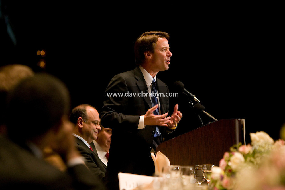 11 April 2007 - New York City, NY - Presidential candidate John Edwards delivers the keynote speech at the Labor Research Association awards dinner in New York City, USA, 11 April 2007. Photo Credit: David Brabyn.