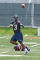 Virginia quarterback Riko Smalls during open spring practice for the Virginia Cavaliers football team August 7, 2009 at the University of Virginia in Charlottesville, VA. Photo/Andrew Shurtleff