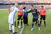Stanford, CA - Saturday July 01, 2017: Jelle Van Damme, Chris Wondolowski during a Major League Soccer (MLS) match between the San Jose Earthquakes and the Los Angeles Galaxy at Stanford Stadium.