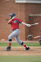 Jared Kacso (24) of the NJIT Highlanders follows through on his swing against the High Point Panthers at Williard Stadium on February 18, 2017 in High Point, North Carolina. The Panthers defeated the Highlanders 11-0 in game one of a double-header. (Brian Westerholt/Four Seam Images)