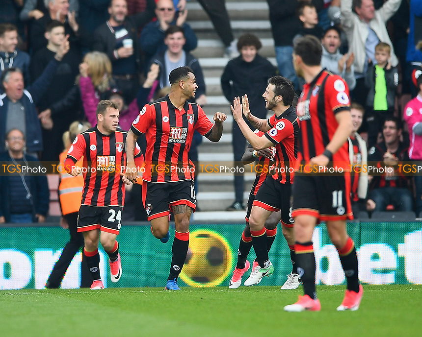 Joshua King of AFC Bournemouth celebrates after scoring the equaliser to make the score 2-2 during AFC Bournemouth vs Stoke City, Premier League Football at the Vitality Stadium on 6th May 2017