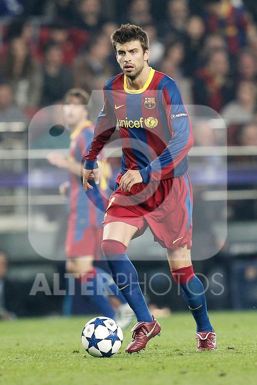 Barcelona's Gerard Pique during Champions League match on April, 6th 2011...Photo: Cesar Cebolla / ALFAQUI