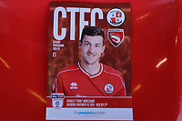 Ashley Nadesan on the cover of match day programme ahead of Crawley Town vs Morecambe, Sky Bet EFL League 2 Football at Broadfield Stadium on 16th November 2019