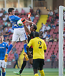 Alashkert FC v St Johnstone...02.07.15   Republican Stadium, Yerevan, Armenia....UEFA Europa League Qualifier.<br /> Joe Shaughnessy gets above keeper Gevorg Kasparov<br /> Picture by Graeme Hart.<br /> Copyright Perthshire Picture Agency<br /> Tel: 01738 623350  Mobile: 07990 594431