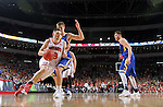 SIOUX FALLS, SD: MARCH 6: Matt Mooney #13 from the University of South Dakota looks to get a step past Lane Severyn #25 from South Dakota State University during the Summit League Basketball Championship on March 6, 2017 at the Denny Sanford Premier Center in Sioux Falls, SD. (Photo by Dave Eggen/Inertia)