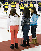 Three schoolchildren sang the Star Spangled Banner. - The Merrimack College Warriors defeated the visiting Sweden Under 20 team 4-1 on Tuesday, November 2, 2010, at Lawler Arena in North Andover, Massachusetts.