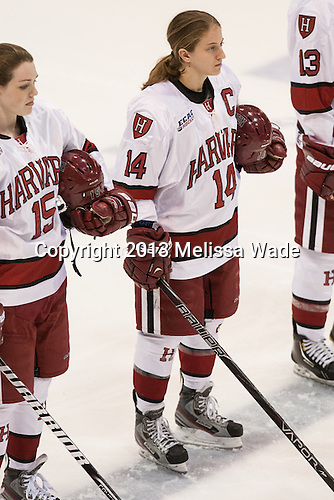 Mary Parker (Harvard - 15), Jillian Dempsey (Harvard - 14) - The Boston College Eagles defeated the Harvard University Crimson 2-1 in the opening game of the 2013 Beanpot on Tuesday, February 5, 2013, at Matthews Arena in Boston, Massachusetts.