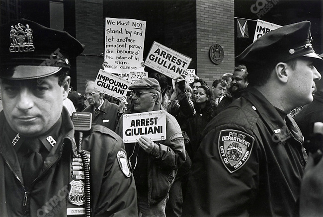Protest against New York City Mayor Rudolph Giuliani, New York City, New York, USA, March 1999.