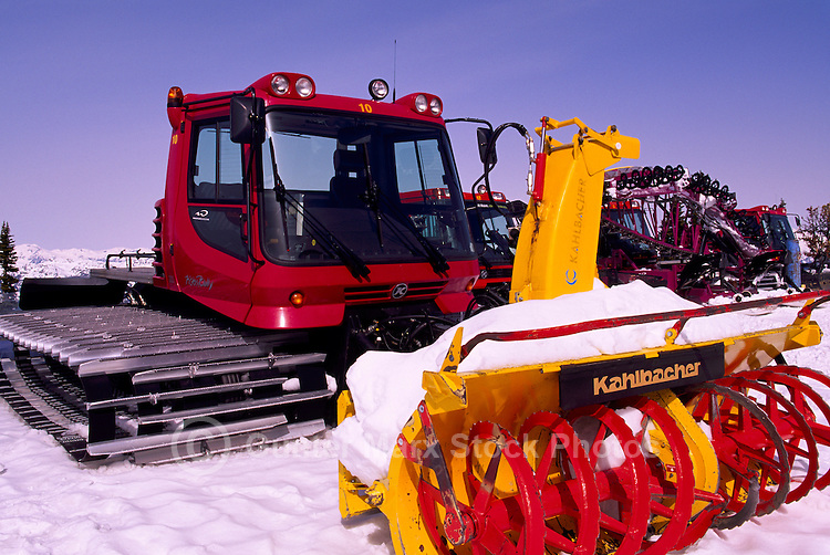 Snow Removal Maintenance Vehicle Equipment on Whistler Mountain, Whistler Ski Resort, BC, British Columbia, Canada