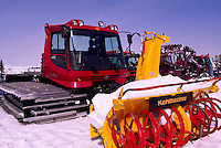 Snow Removal Maintenance Vehicle Equipment on Whistler Mountain, Whistler Ski Resort, BC, British Columbia, Canada