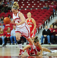 Wisconsin sophomore Tara Steinbauer has 12 points on the afternoon against UW-River Falls, as the Badger women's basketball team tops the Falcons 71-38 in exhibition play on Sunday at the Kohl Center in Madison