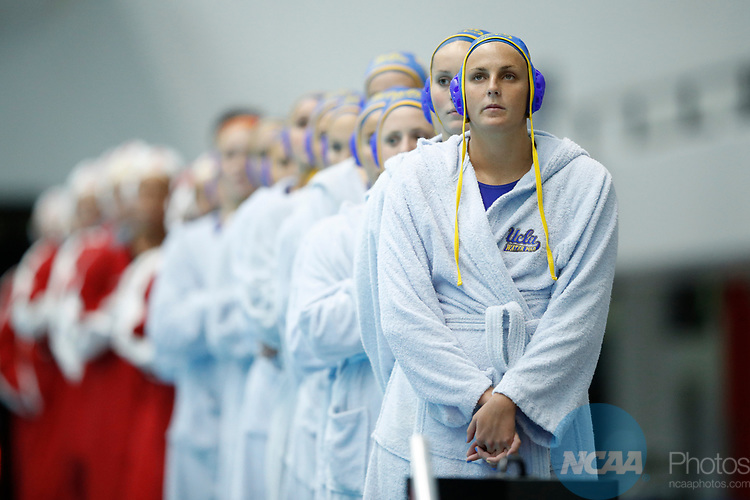 INDIANAPOLIS, IN - MAY 14: Alexis Angermund (15) of UCLA looks on during the national anthem prior to the Division I Women's Water Polo Championship against Stanford University held at the IU Natatorium-IUPUI Campus on May 14, 2017 in Indianapolis, Indiana. (Photo by Joe Robbins/NCAA Photos/NCAA Photos via Getty Images)