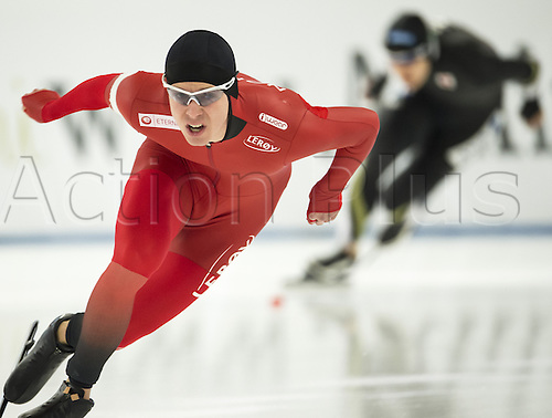 05.03.2016. Berlin, Germany. Simen Spieler Nilsen of Norway in his 500 metre race against Nakamura of Japan, at the ISU World Allround Speed Skating Championships in Berlin.