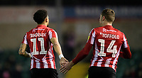 Lincoln City's Bruno Andrade, left, with team-mate Harry Toffolo<br /> <br /> Photographer Chris Vaughan/CameraSport<br /> <br /> The EFL Sky Bet League Two - Lincoln City v Exeter City - Tuesday 26th February 2019 - Sincil Bank - Lincoln<br /> <br /> World Copyright © 2019 CameraSport. All rights reserved. 43 Linden Ave. Countesthorpe. Leicester. England. LE8 5PG - Tel: +44 (0) 116 277 4147 - admin@camerasport.com - www.camerasport.com