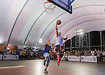 Lu Yu Hui (R) of Taiwan plays against Mo (L) of Taiwan during the Red Bull King of the Rock National Finals at Kaohsiung University basketball court, Kaohsiung, Taiwan, on July 18th 2015.
