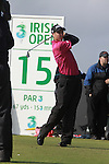 Ross Fisher teeing off on the 15th hole during day two of the 3 Irish Open..Pic Fran Caffrey/golffile.ie