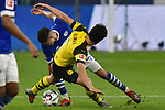 08.12.2018, Veltins-Arena, Gelsenkirchen, GER, 1. FBL, FC Schalke 04 vs. Borussia Dortmund, DFL regulations prohibit any use of photographs as image sequences and/or quasi-video<br /> <br /> im Bild v. li. im Zweikampf Amine Harit (#25, FC Schalke 04) Thomas Delaney (#6, Borussia Dortmund) <br /> <br /> Foto © nordphoto/Mauelshagen
