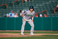 Vermont Lake Monsters designated hitter Anthony Churlin (10) leads off first base during a game against the Tri-City ValleyCats on June 16, 2018 at Joseph L. Bruno Stadium in Troy, New York.  Vermont defeated Tri-City 6-2.  (Mike Janes/Four Seam Images)